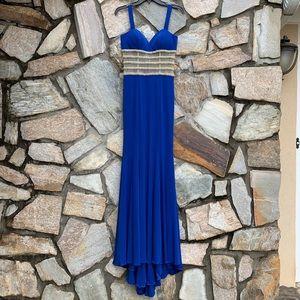 Jovani Royal Blue Jersey Knit Dress